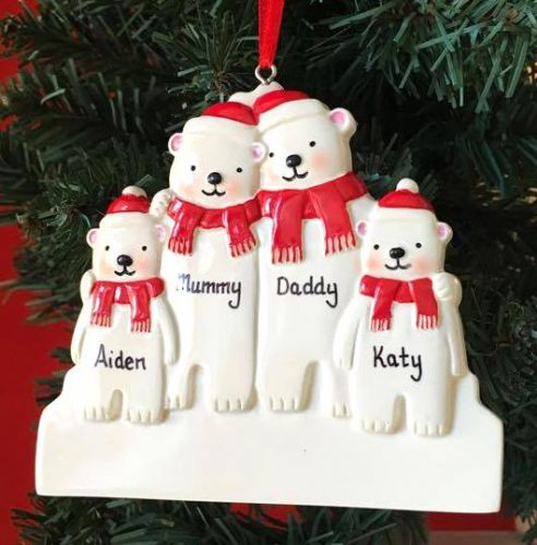 Personalised Polar Bear Family of 4